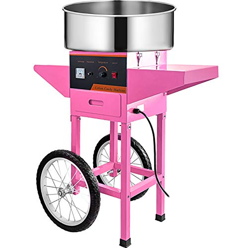 VBENLEM Cotton Candy Machine with Cart Commercial Floss Maker for Family and Various Party, 20.5 Inch, Pink