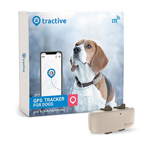 Tractive LTE GPS Dog Tracker - Location & Activity Tracker for Dogs with Unlimited Range (Newest Model), Beige...