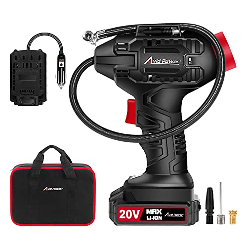 AVID POWER Tire Inflator Air Compressor, 20V Cordless Car Tire Pump with Rechargeable Li-ion Battery, 12V Car...
