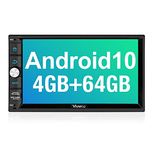 Vanku Android 10 Car Stereo Double Din with 4GB RAM+64GB, GPS, WiFi, Support Android Auto, Backup Camera, USB,...