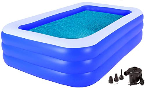 Inflatable Swimming Pool Full-Sized Family Pools 120' X 72' X 22' Kiddie Pool - Lounge Pool for Kids, Adult,...