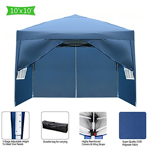Goujxcy 10x10 Ft Pop up Canopy,Outdoor Waterproof Party Tent with 4 Removable Sidewalls and Durable Bag,Blue