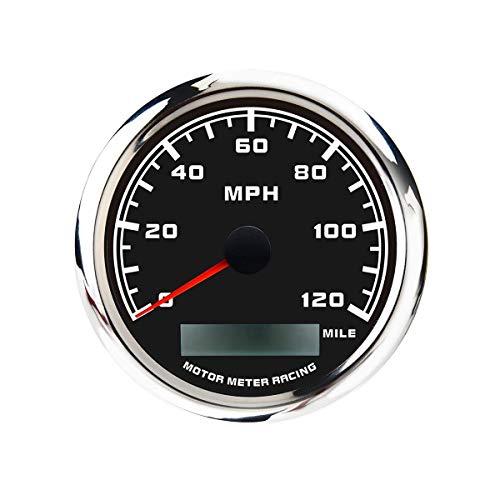 MOTOR METER RACING W Pro GPS Speedometer Odometer Waterproof for Car Boat Motorcycle Black Dial White LED...