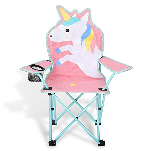 KABOER Kids Outdoor Folding Lawn and Camping Chair with Cup Holder, Unicorn Camp Chair