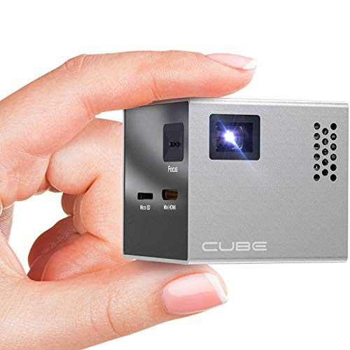 RIF6 CUBE Mini Projector - 2 inch Portable Handheld Projector Screen with Built In Speakers and HDMI Input for...