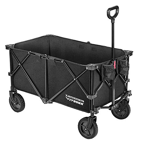 VIVOSUN Heavy Duty Collapsible Folding Wagon Utility Outdoor Camping Beach Cart with Universal Wheels &...