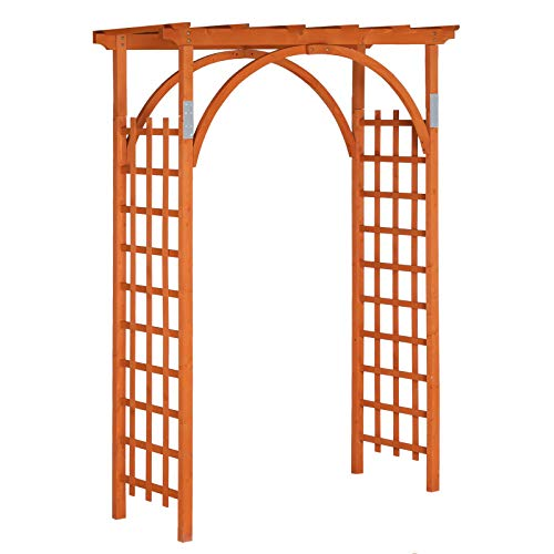 VINGLI 85in Wooden Garden Arbor,Wedding Arch for Ceremony, Wood Garden Trellis for Plant Climbing, Pergola for...