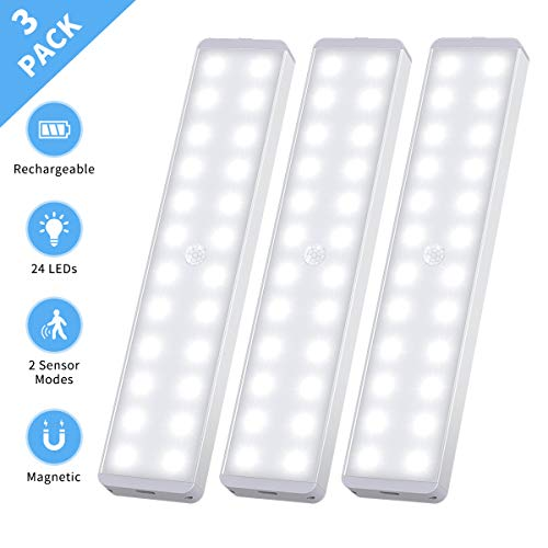 LED Closet Light, 24-LED New Motion Sensor Closet Lights Rechargeable Under Cabinet Light Wireless Stick-on...