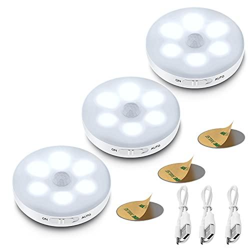 3-Packs Motion Sensor Light Indoor,Rechargeable Battery Powered LED Closet Lights Puck Lights Step Lights with...