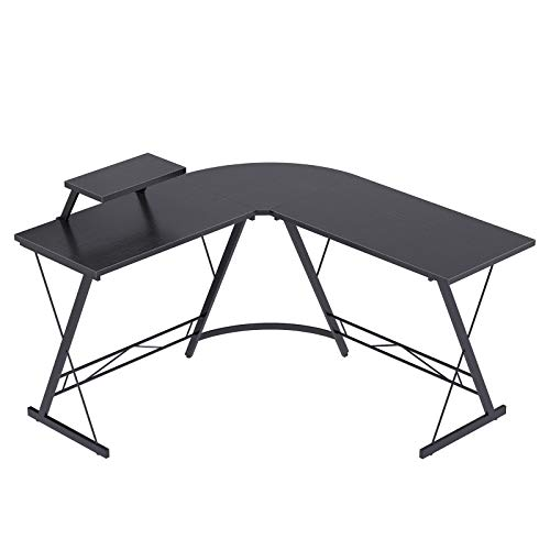 Casaottima L Shaped Desk, 51' Home Office Desk with Round Corner Computer Desk with Large Monitor Stand Desk...