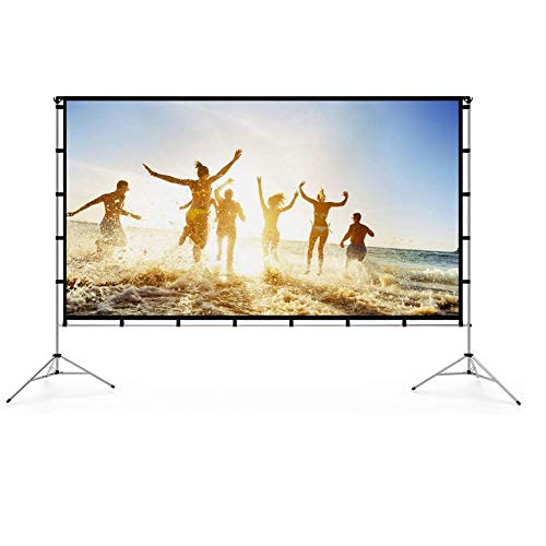 Vamvo Outdoor Indoor Projector Screen with Stand Foldable Portable Movie Screen 120 Inch (16:9) Full-Set Bag...