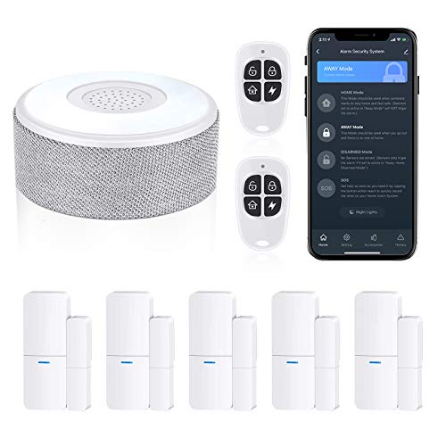 WiFi Door Alarm System, Wireless DIY Smart Home Security System, with Phone APP Alert, 8 Pieces-Kit (Alarm...
