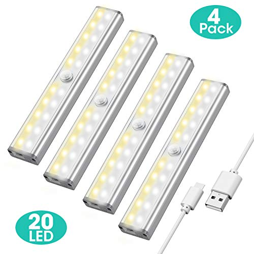 Closet Light Under Cabinet Lighting - 20 LED Motion Sensor Light Bulb with 3 Color Modes - 4 Pack Rechargeable...