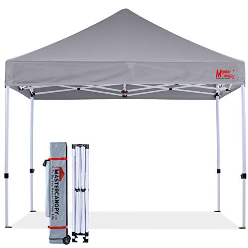MASTERCANOPY Pop Up Canopy Tent 10x10 Commercial Instant Canopies with Heavy Duty Roller Bag, Bonus 4 Canopy...