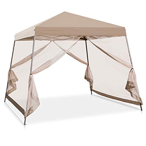 COOL Spot 10' x 10' Slant Leg Pop Up Canopy Tent w/Mosquito Netting (64 Square Feet of Shade) One Person...