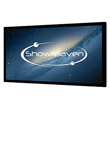ShowMaven 100in /120in Fixed Frame Projector Screen, Diagonal 16:9, Active 3D 4K Ultra HD Projector Screen for...