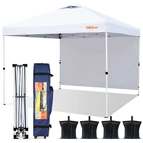 Canopy Tent, TACKLIFE 10×10ft Outdoor Lightweight Instant Pop up Canopy with Attached Sidewalls, Wind Vent,...