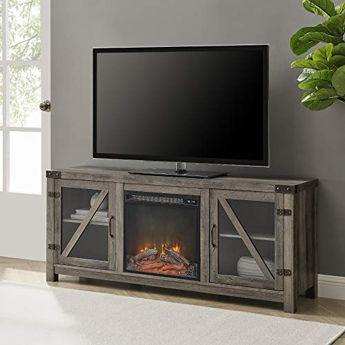Walker Edison Farmhouse Barn Wood and Glass Fireplace Stand for TV's up to 64' Flat Screen Living Room Storage...
