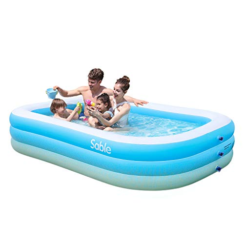 Sable Inflatable Pool, Blow up Kiddie Pool for Family, Garden, Outdoor, Backyard, 92' X 56' X 20', for Ages 3+
