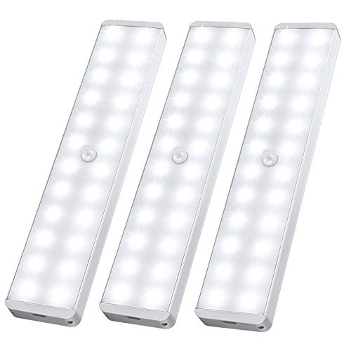 LED Closet Light, 24-LED Newest Version Rechargeable Motion Sensor Under Cabinet Lights Wireless...