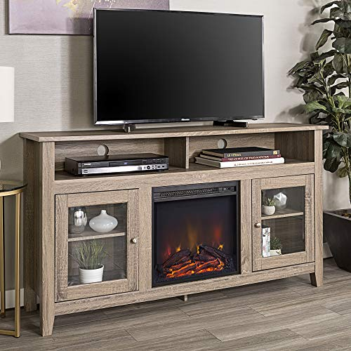 Walker Edison Furniture Company Rustic Wood and Glass Tall Fireplace Stand for TV's up to 64' Flat Screen...