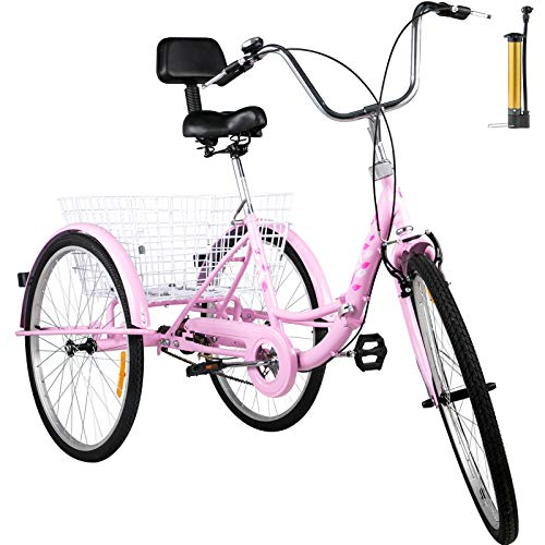 Happybuy Foldable Tricycle 24'' Wheels, 1-Speed Pink Trike, 3 Wheels Colorful Bike with Basket, Portable...