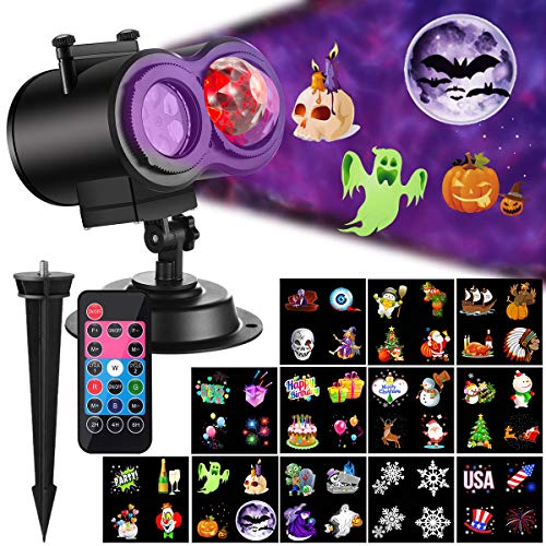 Christmas Projector Lights with Ocean Wave Outdoor Holiday Decorations,Halloween Led Projector Lights 2-in-1...