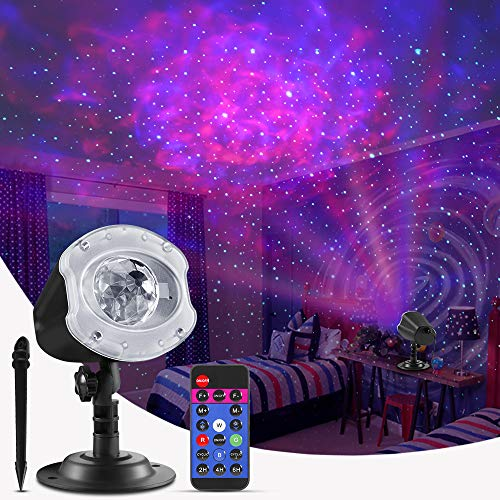 ECOWHO Laser Christmas Projector Light Outdoor, 10 Colors Changing 2 in 1 Galaxy Projector Ocean Wave LED...