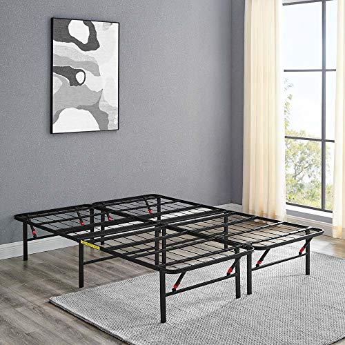 Amazon Basics Foldable, 14' Black Metal Platform Bed Frame with Tool-Free Assembly, No Box Spring Needed -...