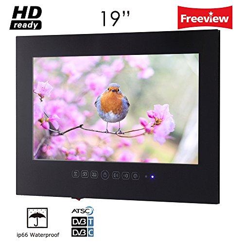 Soulaca 19' IP66 Waterproof Black LED Frame Less Bathroom TV T190FS-B