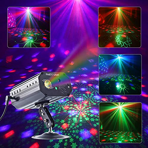 Party Lights, RGB 3 Lens DJ Disco Stage Laser Light Sound Activated Led Projector for Christmas Halloween...