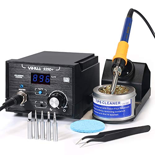 Yihua 939D+ Digital Soldering Station, 75W Equivalent with Precision Temp Control (392°F to 896°F) and...