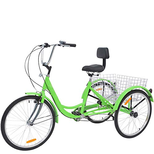 Adult Tricycles 7 Speed, Adult Trikes 24In 3 Wheel Bikes, Three-Wheeled Bicycles Cruise Trike with Shopping...