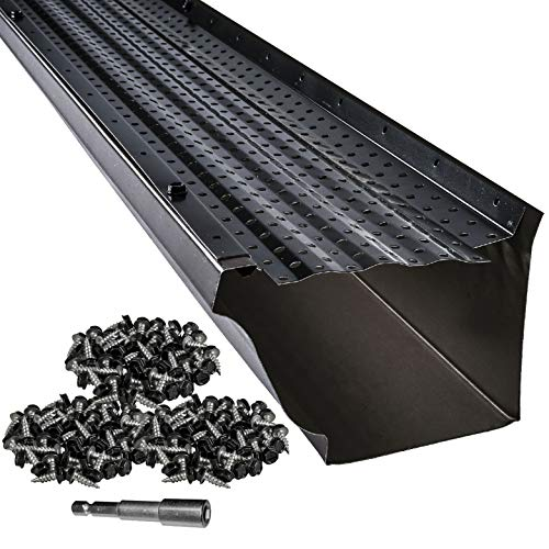 LeafTek 5' x 100' Gutter Guard Leaf Protection in Black | DIY Premium Contractor Grade 35 Year Aluminum Covers...