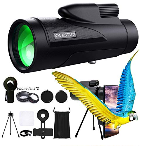 12x50 Bird Watching Monocular Telescope - High Definition Monocular for Adults with Wide Angle & Macro, Tripod...
