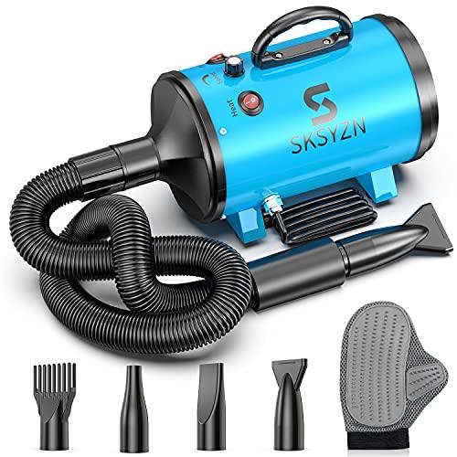 SKSYZN Dog Dryer 3200W/4.3HP Motor Stepless Adjustable Speed Dog Hair Dryer, Pet Dog Grooming Dryer Blower...