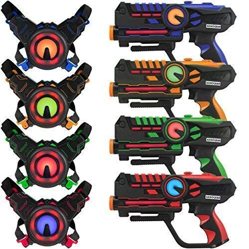 ArmoGear Laser Tag – Laser Tag Guns with Vests Set of 4 – Multi Player Lazer Tag Set for Kids Toy for Teen...