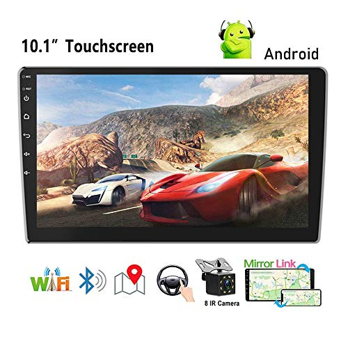 Podofo Android Double Din GPS Car Stereo Radio 10.1'' HD 1080P 2.5D Tempered Glass Mirror Car MP5 Player with...