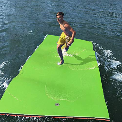 GOOGIC Floating Water Pad 3-Layer XPE Foam Water Floating Mat with Storage Straps,12x6 FT Giant Lily Pad for...