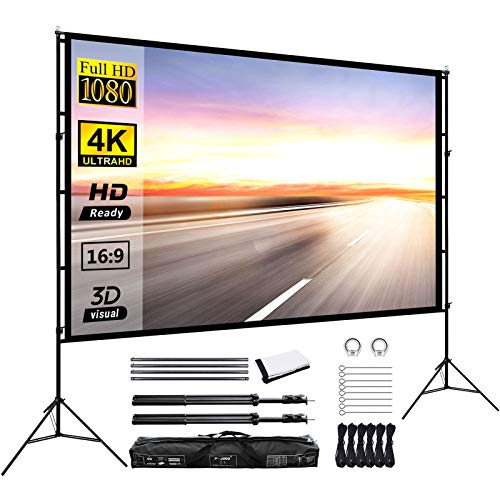 Projector Screen with Stand 120inch Portable Projection Screen 16:9 4K HD Rear Front Projections Movies Screen...