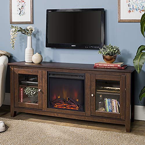 Walker Edison Rustic Wood and Glass Fireplace TV Stand for TV's up to 64'Flat Screen Living Room Storage...