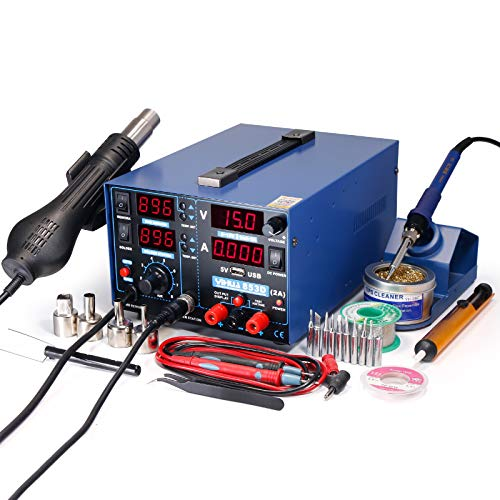 YIHUA 853D 2A USB SMD Hot Air Rework Soldering Iron Station, DC Power Supply 0-15V 0-2A with 5V USB Charging...