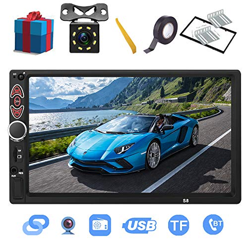 Double Din Car Stereo-7 inch Touch Screen,Compatible with BT TF USB MP5/4/3 Player FM Car Radio,Support Backup...