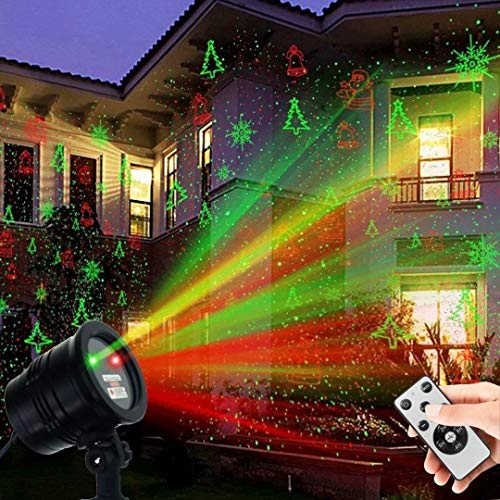 Christmas Laser Lights, Projector Lights Led Landscape Spotlight Red and Green Star Show with Rf Wireless...