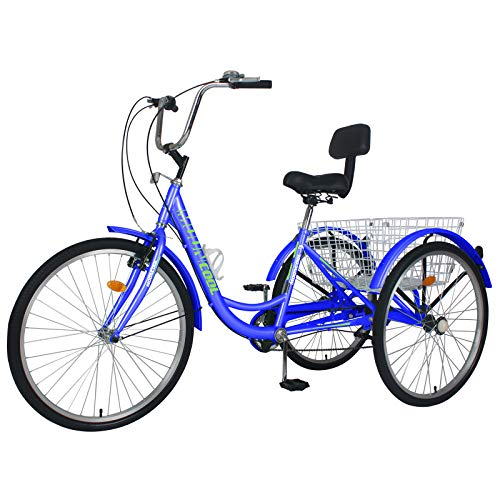 MOONCOOL Adult Tricycles 3 Wheel 7 Speed Trikes, 20/24 / 26 inch Adult Trikes 3 Wheeled Bike with Basket for...