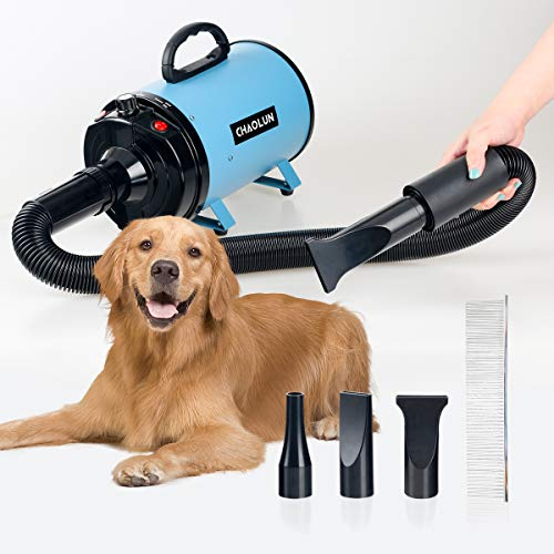 CHAOLUN High Velocity Pet Hair Dryer - Blower Grooming Dryer with Heater Dogs & Cats, 3.2HP 2400W Powerful...