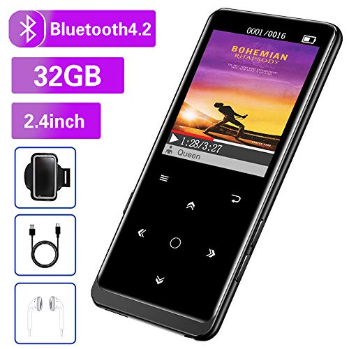 32GB MP3 Player, Mibao MP3 Player with Bluetooth 4.2, Music Player with FM Radio, Recording, 2.4' Screen, HiFi...
