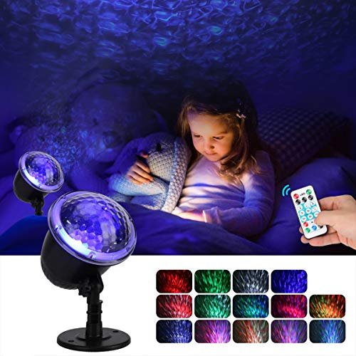 Night Light Projector for Kids, KINGWILL Ocean Wave Projector Light with Ripple RGB 3D Water Effect, Remote...