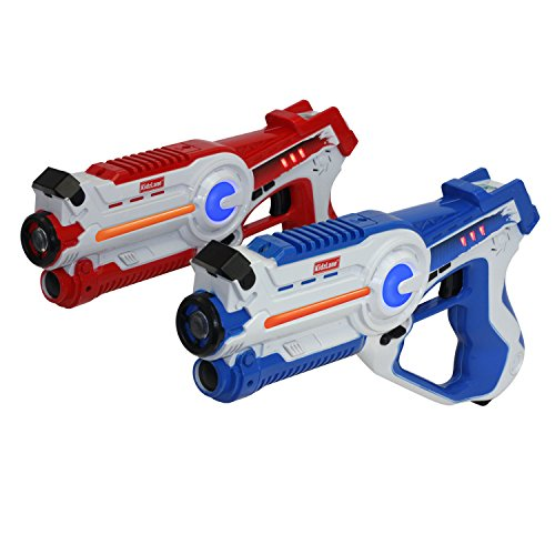 Kidzlane Infrared Laser Tag Game - Set of 2 Red / Blue - Infrared Laser Guns Indoor and Outdoor Activity....