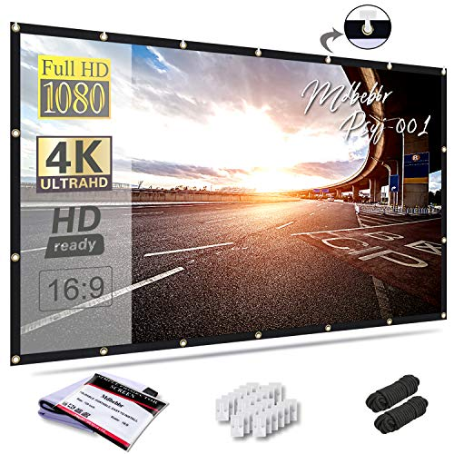 Mdbebbron 120 inch Projection Screen 16:9 HD Foldable Anti-Crease Portable Projector Movies Screen for Home...